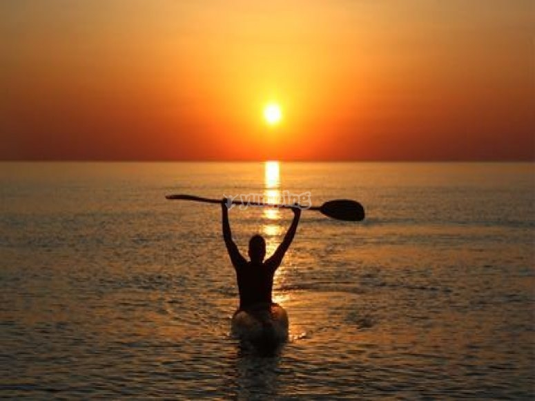 Kayaking at sunset