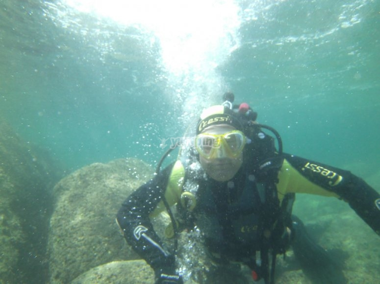 Submerged diver