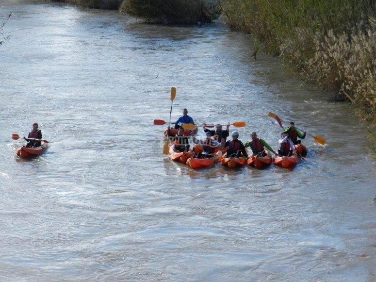 Kayaks descending