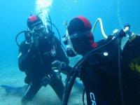 buceadores bajo el agua