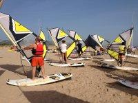 Ensayando con los equipos de windsurf