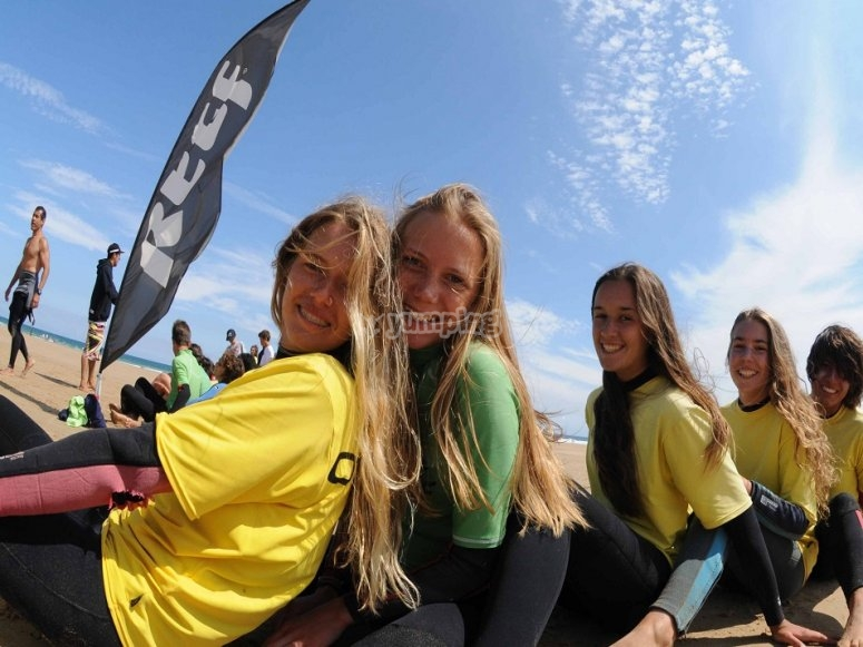 Participants of the surfing camp