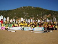 Surfing camp group