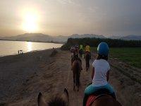 沙滩骑马的日落