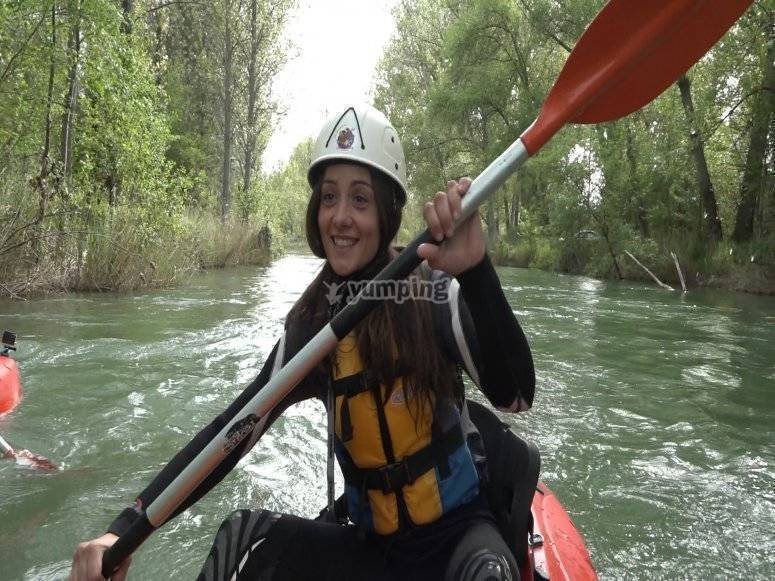 Paddling in the kayak