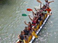 塞古拉河在充气香蕉的乐趣下降