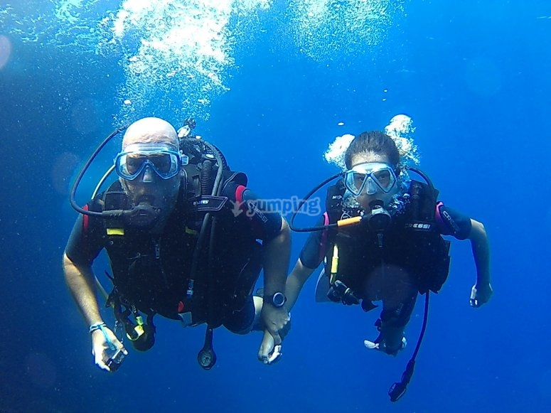 Instructor with diving student