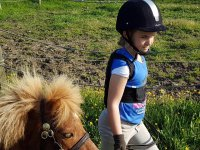 Niña y pony paseando
