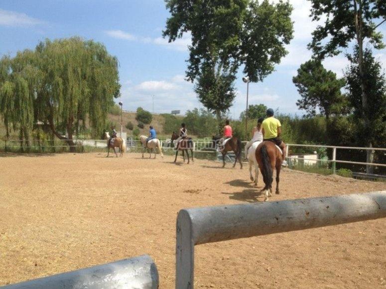 disfrutando de un paseo a caballo en barcelona