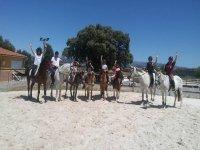 Clase teórica de equitación en grupo