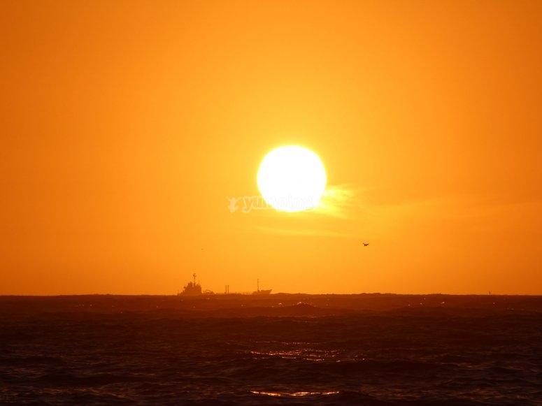Puesta de sol en catamaran Malaga