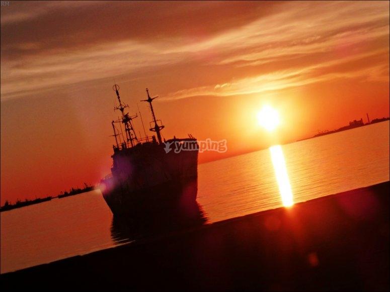 Mundo marino puesta de sol