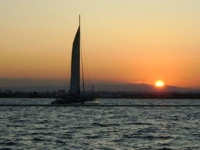 Sunset from catamaran in Valencia