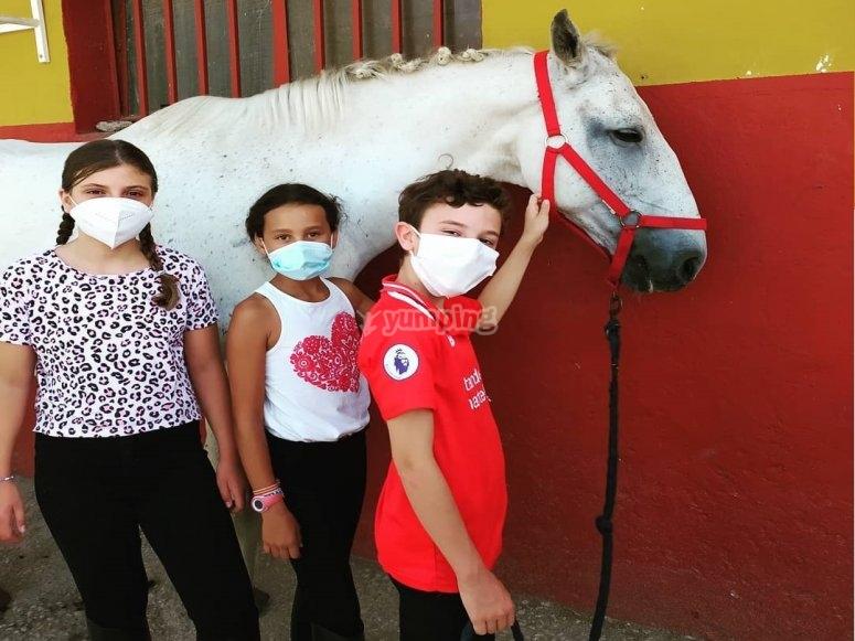 Niños junto al caballo