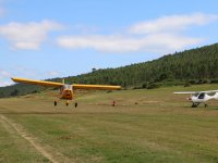 Light aircraft landing at the Fervenza aerodrome
