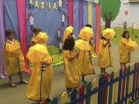 With yellow umbrellas