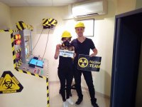Couple after experience in escape room