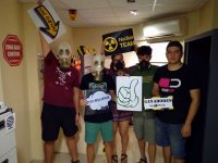 Group of friends in nuclear escape room error