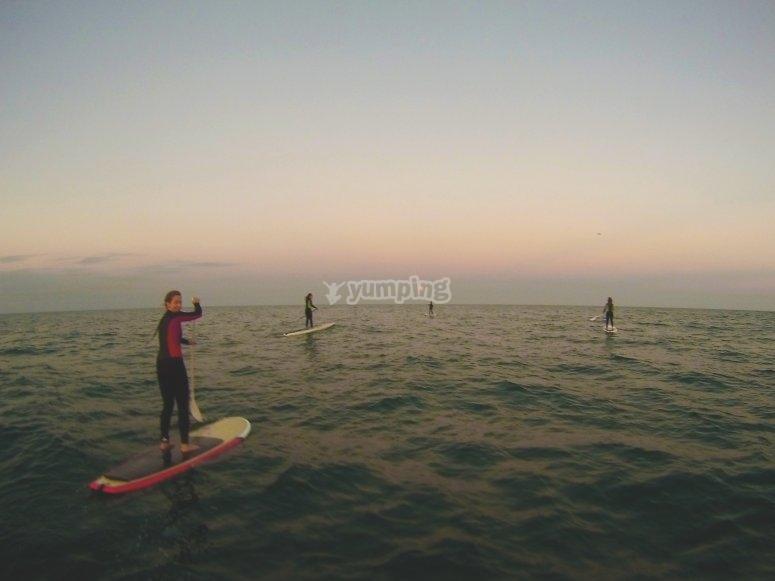 puesta de sol paddle