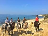 Ruta caballo con puesta de sol en Playa Bolonia 2h