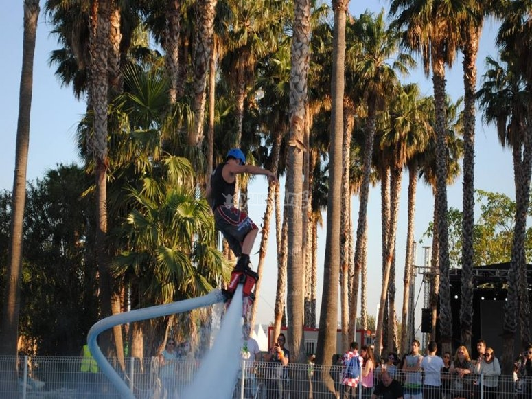 Flyboarding next to the palmtrees