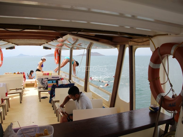 The interior of the chillout boat