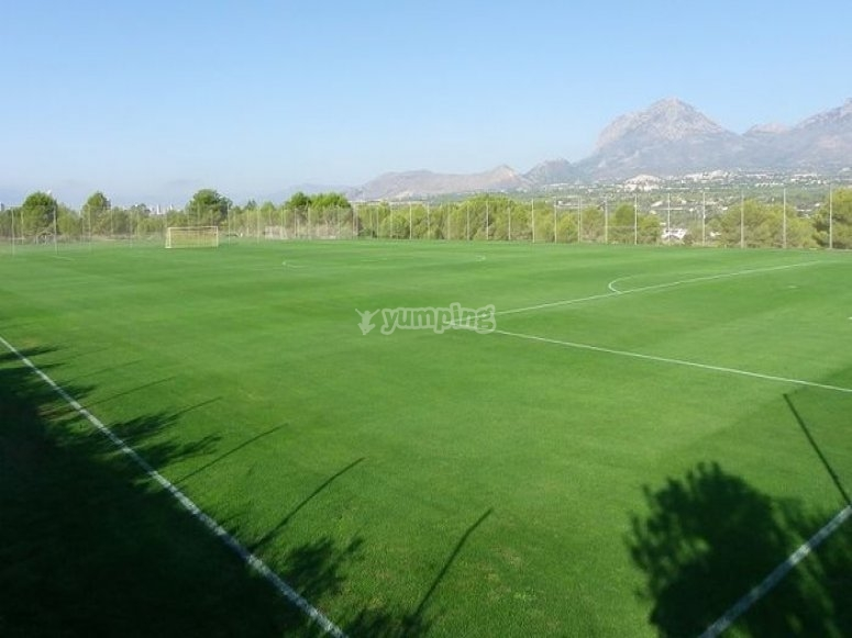 campus de futbol verde con porterias en medio