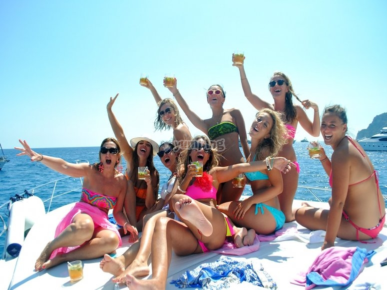 Hen party on the sailing boat