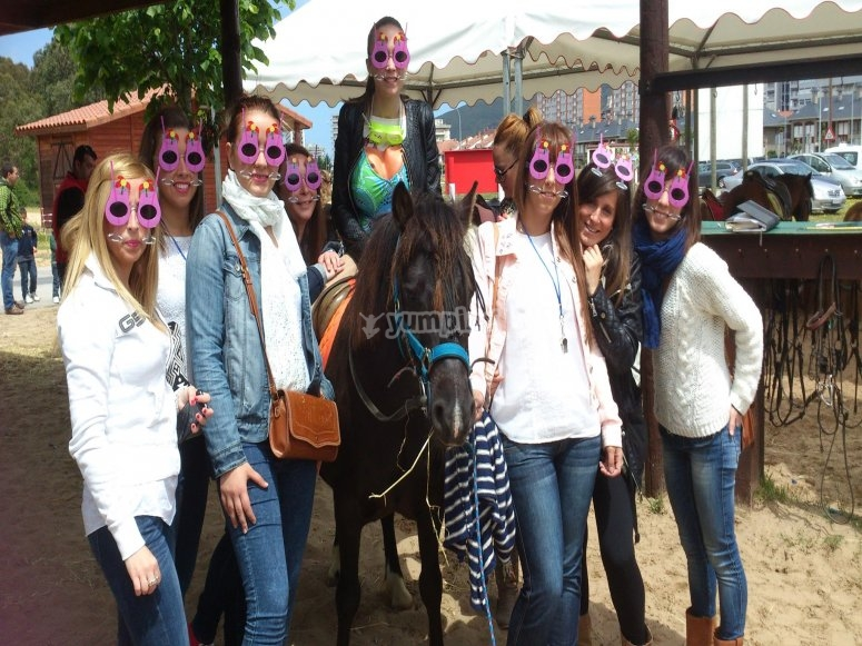 Stag party at horseback