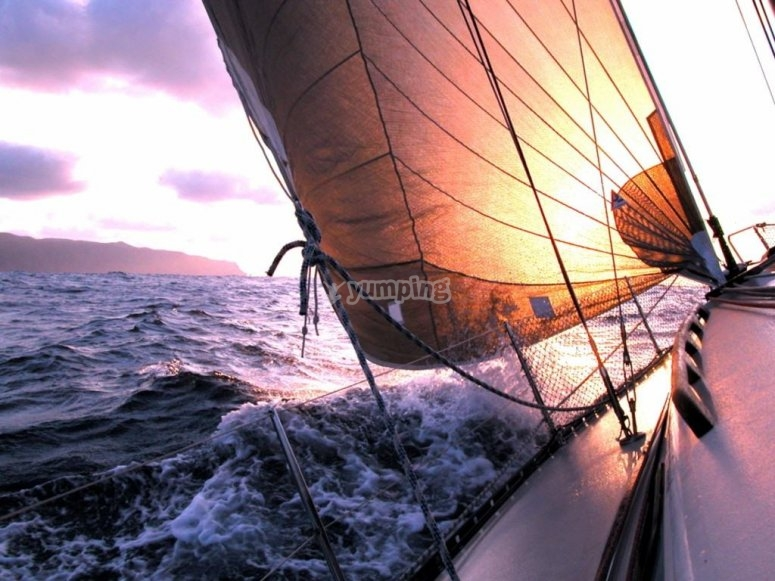 Sunset in the sailing boat