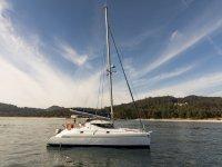 Catamaran crossing the Galician waters
