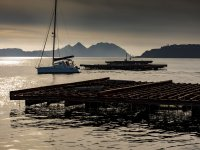 Dusk in Galician waters aboard the catamaran