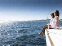 Enjoying the sun on the deck of the catamaran