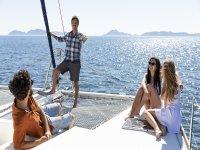 A trip with friends on a catamaran