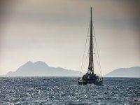 Catamaran entering the Galician coast