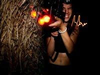 etichetta laser di notte