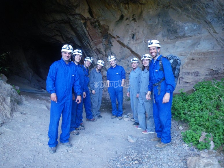 Group in front of the cave
