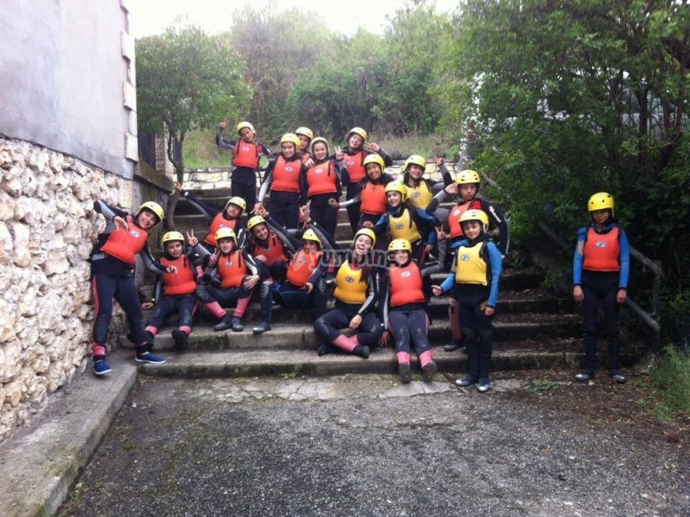 A group prepared for the adventure in Cuenca