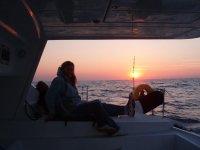 Puesta de sol vista desde el barco