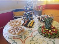 Table of sweets and fruit for the celebration