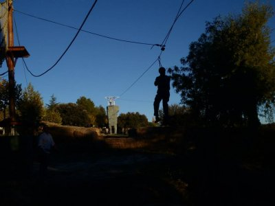 Zipline in Guadarrama's national park. 2 slides.