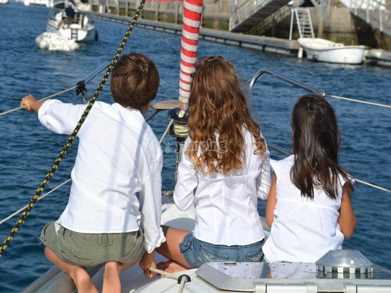 Peques en el barco