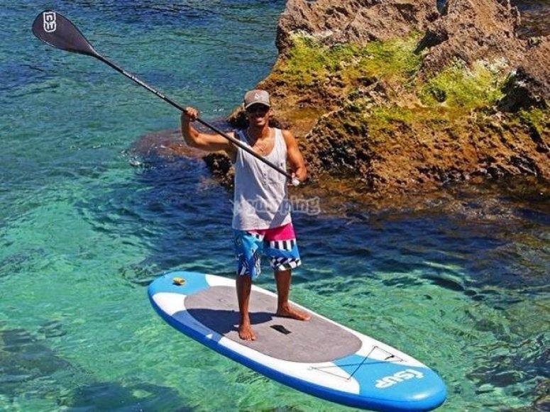 Enjoying stand up paddle surfing