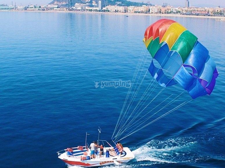 Despegando con el parasailing