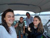 A bordo de nuestra lancha para practicar esquí acuático