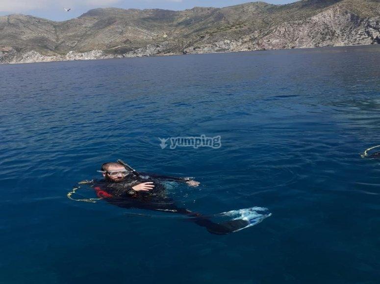 En la superficie antes de la inmersión