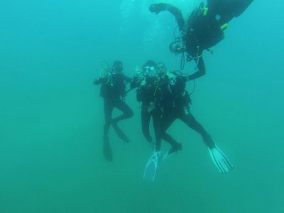 Diving baptism from sea in Catagena