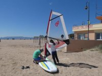 Preparing the windsurfing equipment