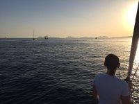 Looking at the sea at sunset