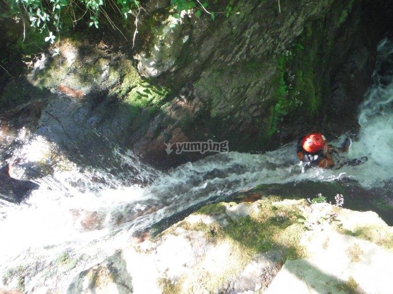 Sliding down the rocks